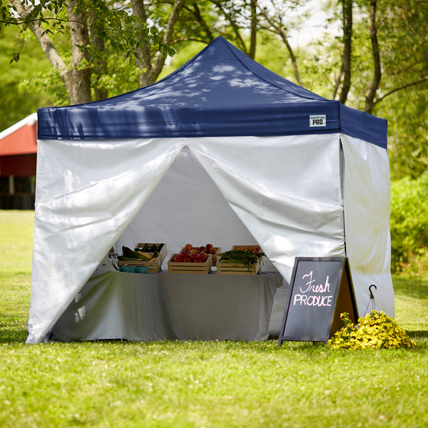 Backyard Pro Courtyard Series 10' x 10' Navy Straight Leg Aluminum Instant Canopy Deluxe Kit with 4 Side Walls Main Image 7