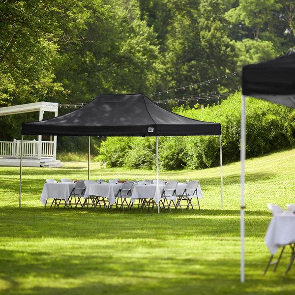 Backyard Pro Courtyard Series 10' x 15' Black Straight Leg Aluminum Instant Canopy Main Image 6
