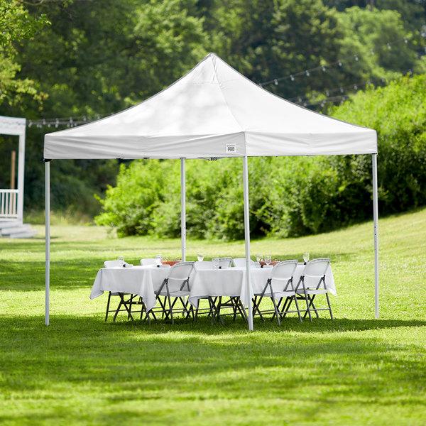 Backyard Pro Courtyard Series 10' x 10' White Straight Leg Steel Instant Canopy Main Image 6