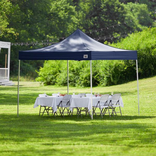 Backyard Pro Courtyard Series 10' x 10' Navy Straight Leg Aluminum Instant Canopy Main Image 6