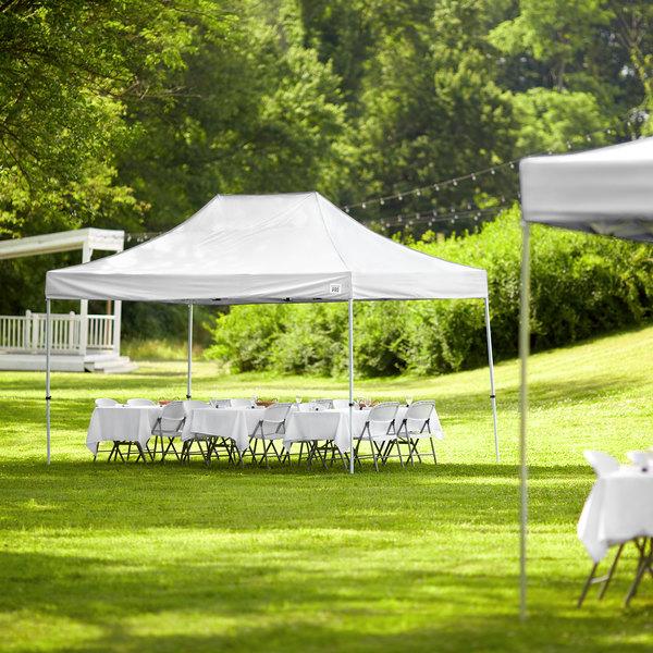 Backyard Pro Courtyard Series 10' x 15' White Straight Leg Steel Instant Canopy Main Image 6