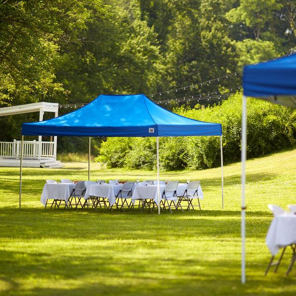 Backyard Pro Courtyard Series 10' x 15' Blue Straight Leg Aluminum Instant Canopy Main Image 6