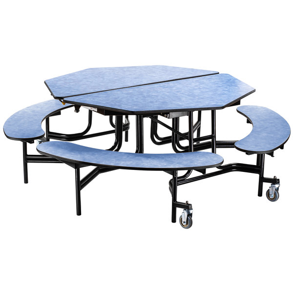 """National Public Seating MTO60B-PBTMCR 60"""" Octagonal Mobile Particleboard Cafeteria Table with Chrome Frame, T-Molding Edge, and 4 Benches"""