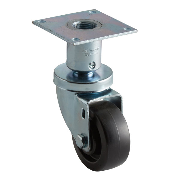 """Pitco and Anets Equivalent 3"""" Swivel Adjustable Height Plate Caster for Fryers Main Image 1"""