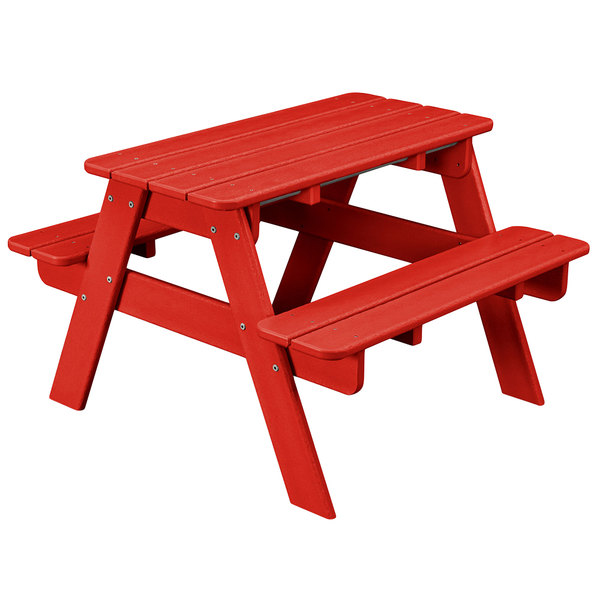 Polywood Kt130sr Sunset Red 30 X 33 Kids Picnic Table With Seating