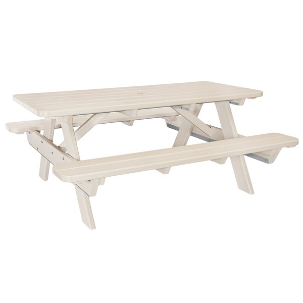 Magnificent Polywood Pt172Sa Sand 70 X 65 Park Picnic Table With Seating Caraccident5 Cool Chair Designs And Ideas Caraccident5Info