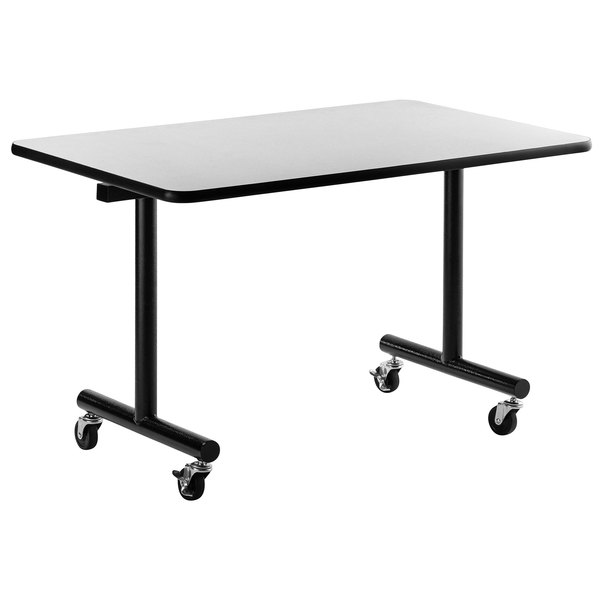 "National Public Seating TGT3060MDPE 30"" x 60"" Mobile Table with MDF Core and ProtectEdge Main Image 1"