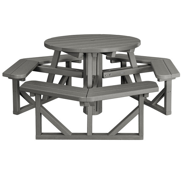 Polywood Ph36gy Slate Grey 36 Round Park Picnic Table With Seating