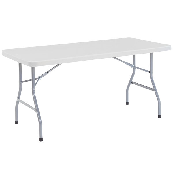 "NPS Folding Table, 30"" x 60"" Plastic, Gray - BT3060 Main Image 1"