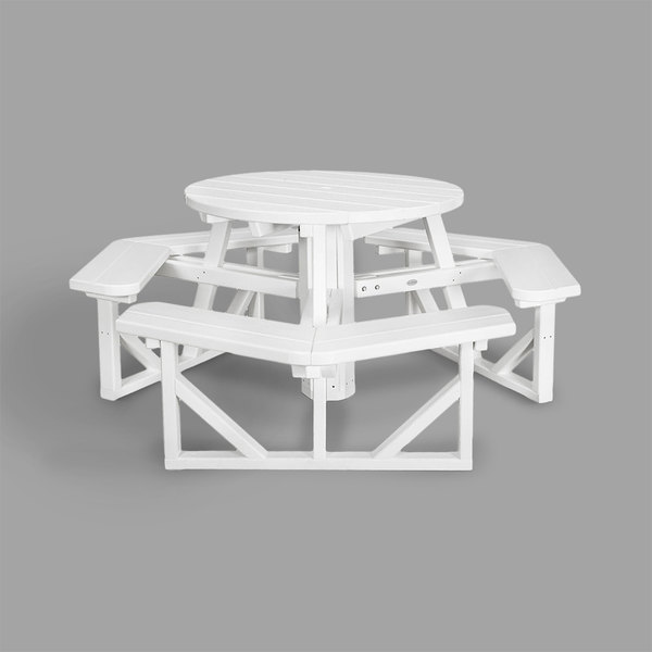 Polywood Ph36wh White 36 Round Park Picnic Table With Seating