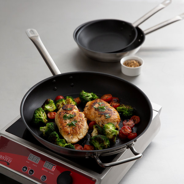 """Vigor 3-Piece Stainless Steel Non-Stick Fry Pan Set with Aluminum-Clad Bottom and Excalibur Coating - 8"""", 9 1/2"""", and 12"""" Frying Pans Main Image 2"""
