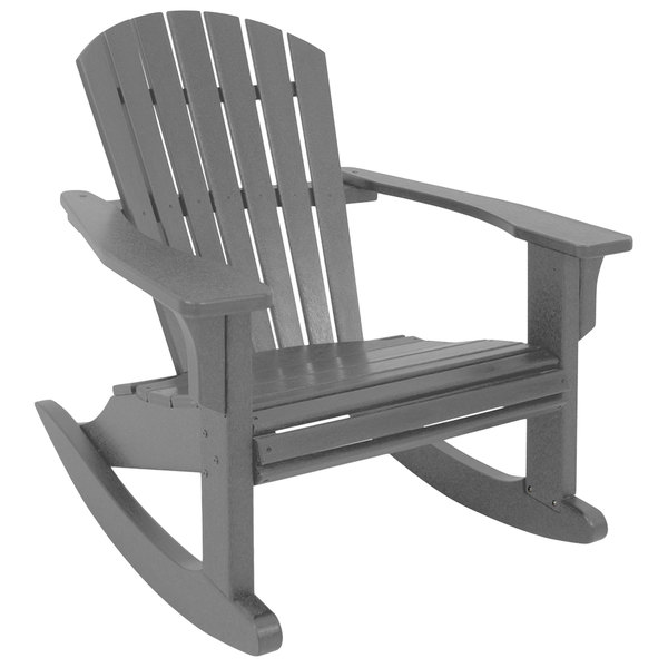 Surprising Polywood Shr22Gy Slate Grey Seashell Rocking Chair Andrewgaddart Wooden Chair Designs For Living Room Andrewgaddartcom