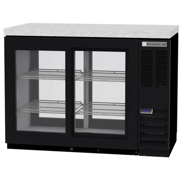 "Beverage-Air BB48HC-1-GS-PT-B-27 48"" Black Counter Height Sliding Glass Door Pass Through Back Bar Refrigerator Main Image 1"