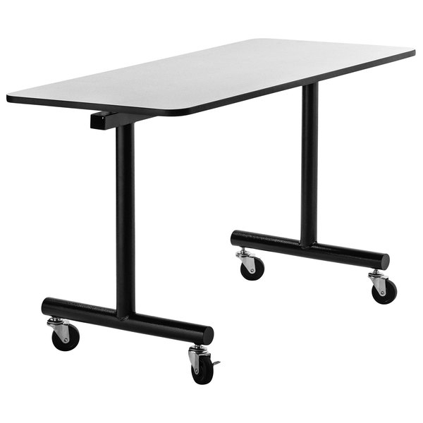 """National Public Seating TGT2460MDPE 24"""" x 60"""" Mobile Table with MDF Core and ProtectEdge Main Image 1"""
