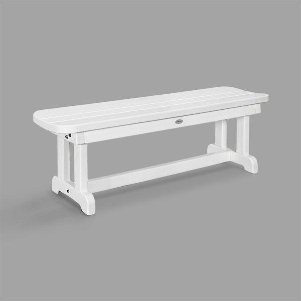 Peachy Polywood Pbb48Wh White 48 X 14 1 2 Backless Park Bench Frankydiablos Diy Chair Ideas Frankydiabloscom