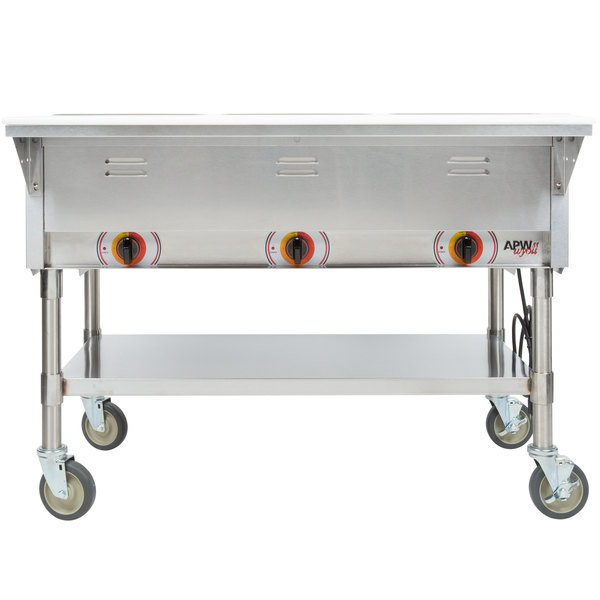 APW Wyott PSTS Three Pan Exposed Portable Steam Table With - Apw wyott steam table