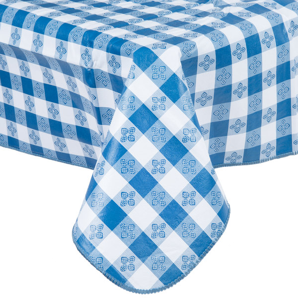 52 Quot X 90 Quot Blue Gingham Vinyl Table Cover With Flannel Back