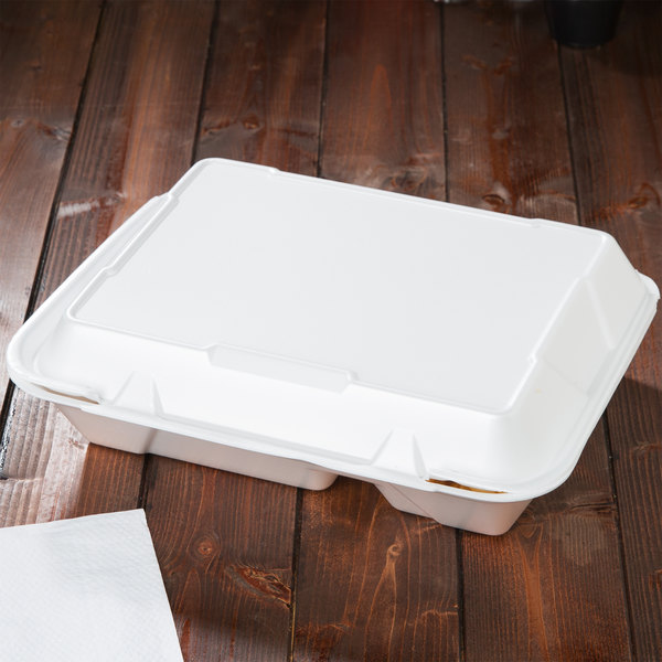 "Genpak SN272 13"" x 10"" x 3"" White Foam 2 Compartment Container with Hinged Lid - 200/Case"