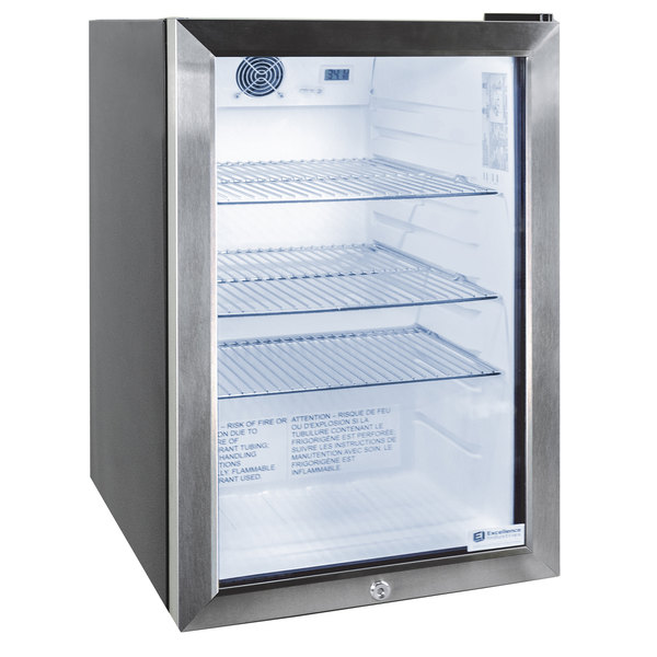 Excellence EMM-3HC Black Countertop Display Refrigerator with Swing Door