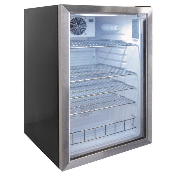 Excellence EMM-4HC Black Countertop Display Refrigerator with Swing Door Main Image 1
