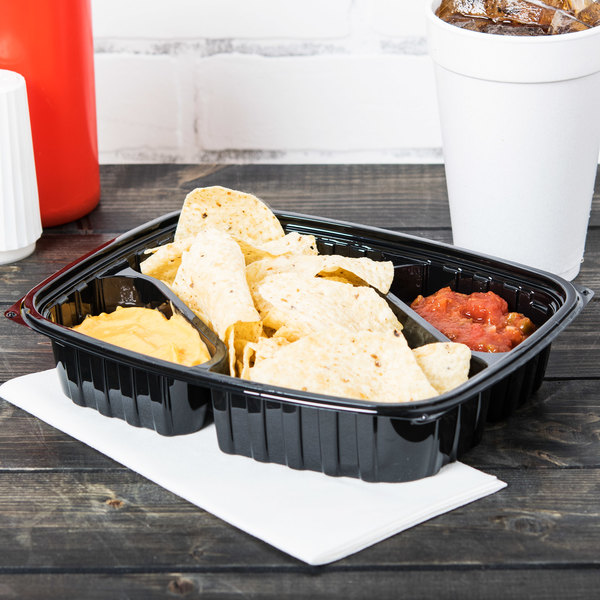 Dart B30DX3 ClearPac 30 oz. Black Rectangular 3 Diagonal Compartment Plastic Container - 252/Case Main Image 7