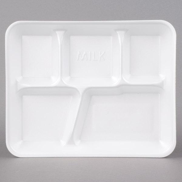 Genpak 10500W 10 3/8 inch x 8 3/8 inch x 1 3/16 inch 5 Compartment White Foam School Tray - 125/Pack