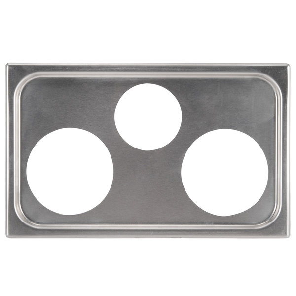 "Vollrath 19193 3 Hole Steam Table Adapter Plate - 4 7/8"" and 6 3/8"""