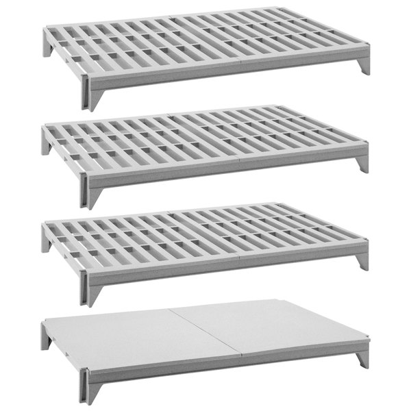 """Cambro CPSK2160VS4480 Camshelving® Premium Series Stationary Shelf Kit with 3 Vented Shelves and 1 Solid Shelf - 60"""" x 21"""" Main Image 1"""