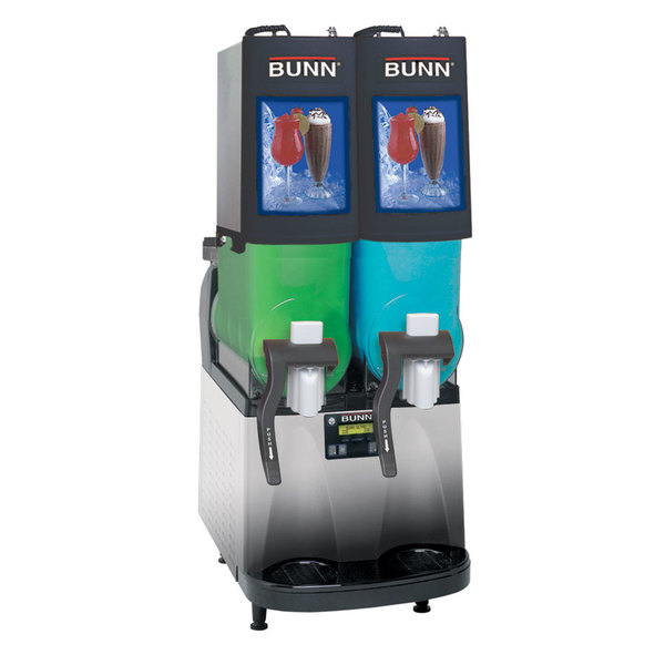 Bunn 34000.0501 Ultra-2 PAF Black and Stainless Steel Double 2 Gallon Powdered Autofill Slushy / Granita Frozen Drink Machine - 120V