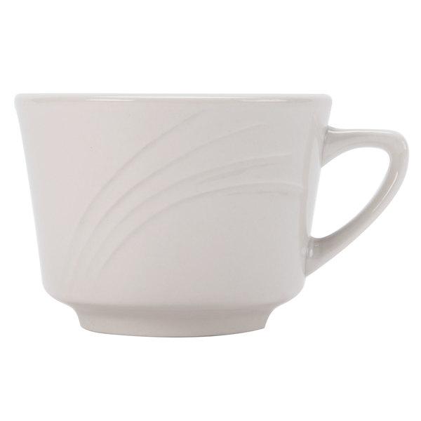 CAC GAD-1 Garden State 7 oz. Bone White Porcelain Coffee Cup - 36/Case
