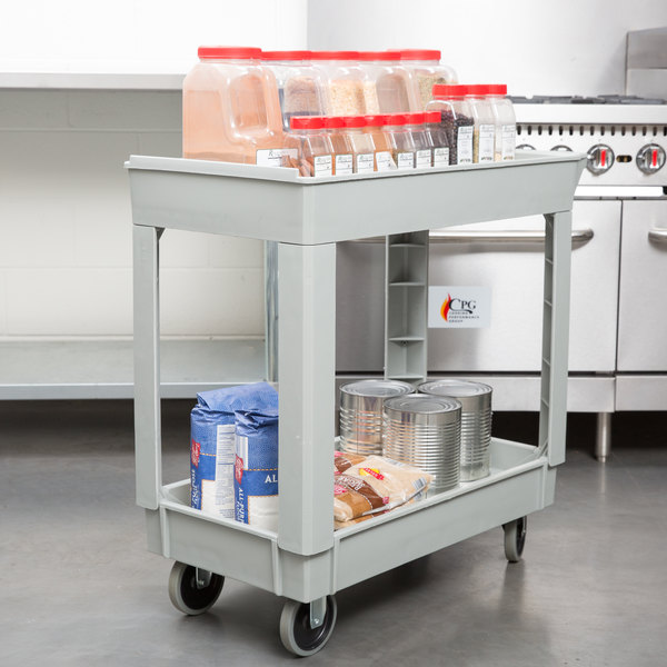 """Continental 5800GY 34"""" x 17"""" Gray Utility Cart with 2-Shelf Recessed Top"""