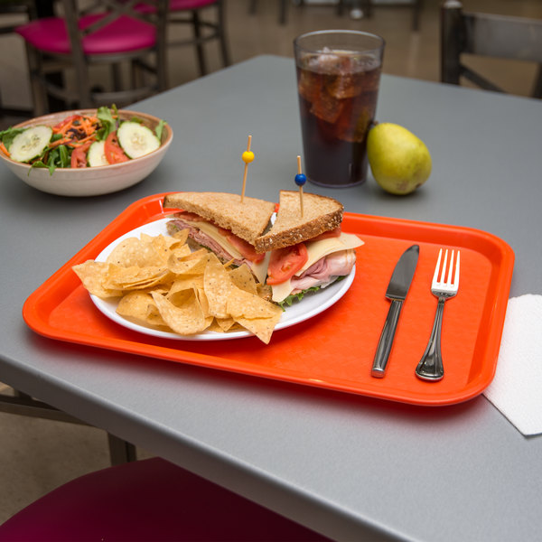 "Carlisle CT121624 Customizable Cafe 12"" x 16"" Orange Standard Plastic Fast Food Tray - 24/Case"