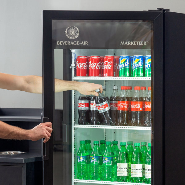 "Beverage-Air MT12-1B-18 25"" Marketeer Series Black Refrigerated Glass Door Merchandiser with Left Hinged Door and LED Lighting Main Image 7"