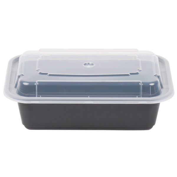 Newspring NC-838-B 24 oz. Black 5 inch x 7 1/4 inch x 2 inch VERSAtainer Rectangular Microwavable Container with Lid - 150/Case