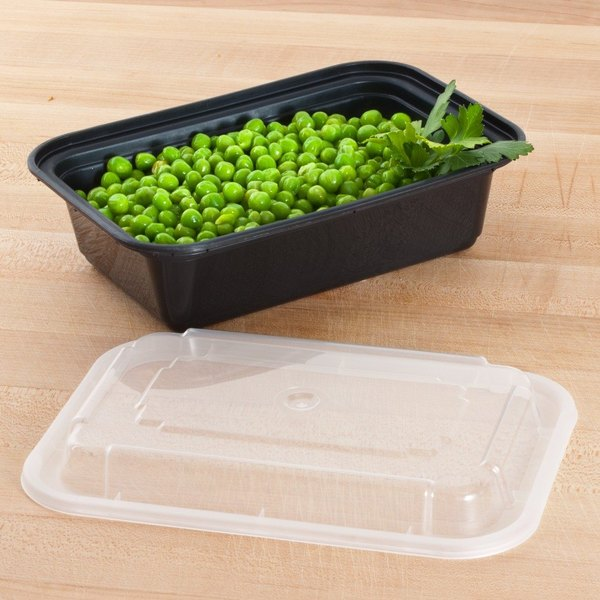 "Newspring NC-838-B 24 oz. Black 5"" x 7 1/4"" x 2"" VERSAtainer Rectangular Microwavable Container with Lid - 150/Case"