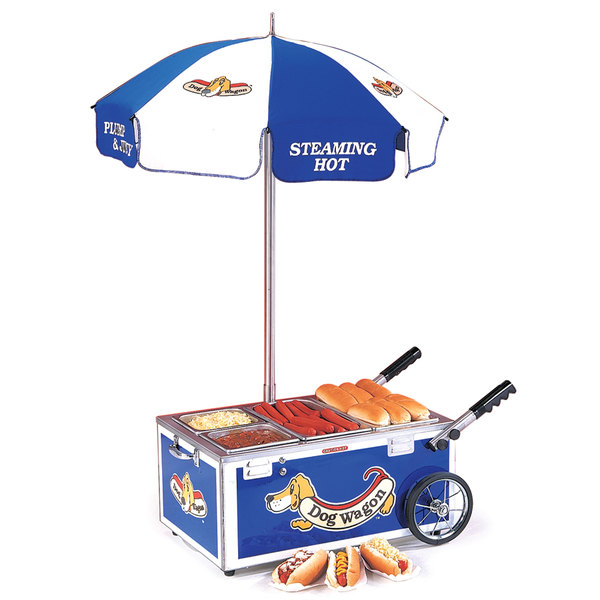 Nemco 6550-DW Blue Mini Hot Dog Cart with (2) 1/6 Pan and (2) 1/3 Pan Configuration - 120V, 1220W Main Image 1