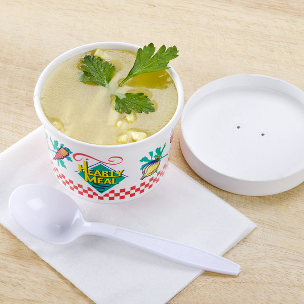 Dart Solo KH8A-86926 Hearty Soup Print 8 oz. Double-Wall Poly Paper Soup / Hot Food Cup with Vented Paper Lid - 250/Case