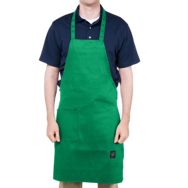 "Chef Revival 601BAC-GN Customizable Full-Length Kelly Green Bib Apron - 34""L x 28""W"