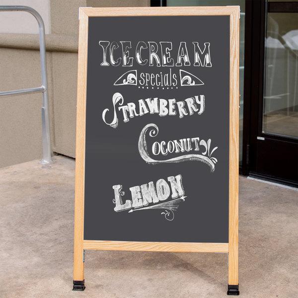 Aarco A 1B 42 X 24 Oak Frame Sign Board With Black Write On Chalk
