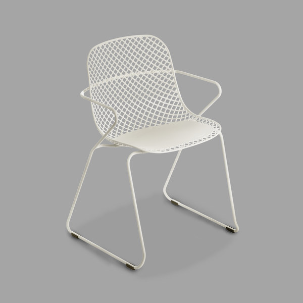 Pack of 4 Grosfillex US136710 Ramatuelle '73 Creme Absolut Stackable Indoor / Outdoor Armchair