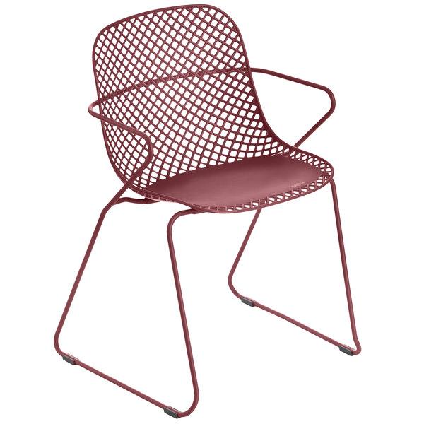 Pack of 4 Grosfillex US136712 Ramatuelle '73 Rouge Bossa Nova Stackable Indoor / Outdoor Armchair
