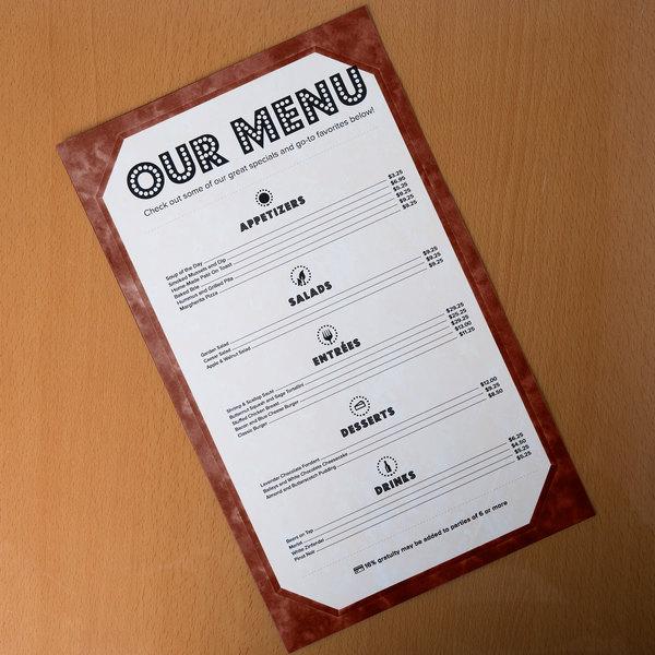 "8 1/2"" x 14"" Brown Menu Paper - Angled Marble Border - 100/Pack"