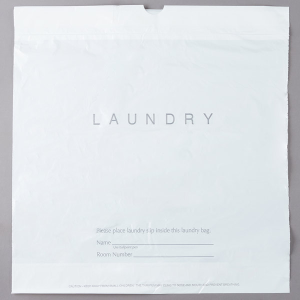 18 X 19 Plastic Hotel Laundry Bag With Drawstring 100 Pack