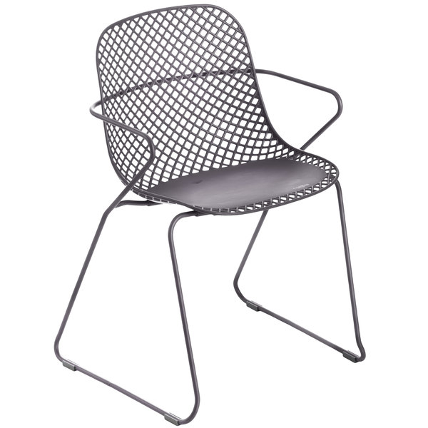 Pack of 4 Grosfillex US136713 Ramatuelle '73 Gris Pavement Stackable Indoor / Outdoor Armchair