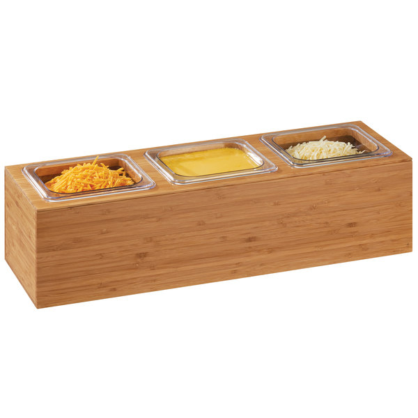 "Cal-Mil 3837-3-60 Bamboo Action Station 1/6 Size Pan Unit - 11 3/4"" x 7 1/2"" x 6 1/4"""