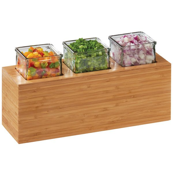 """Cal-Mil 3836-3-60 Bamboo Action Station Glass Jar Unit - 15 3/4"""" x 5 1/2"""" x 8 3/4"""""""