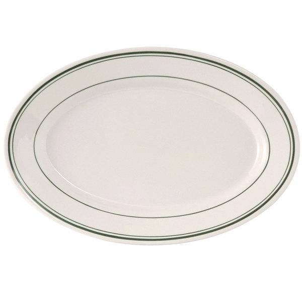"Tuxton TGB-012 Green Bay 10 1/2"" x 7 3/8"" Wide Rim Rolled Edge Oval China Platter - 24/Case"