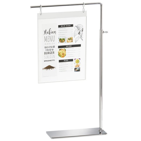 "Cal-Mil 4301 Metal Hanging S-Hook Sign Holder with Stainless Steel Hooks - 10"" x 4"" x 18 1/2"""