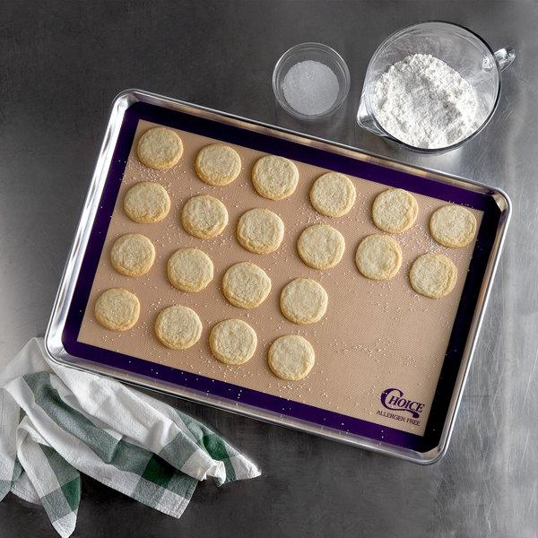 "Choice 16 1/2"" x 24 1/2"" Full Size Allergen Free Purple Silicone Non-Stick Baking Mat"