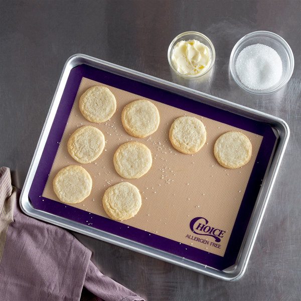 "Choice 11 3/4"" x 16 1/2"" Half Size Allergen Free Purple Silicone Non-Stick Baking Mat"